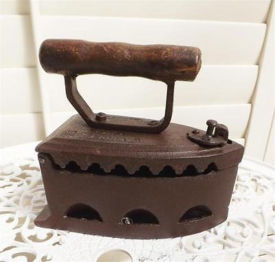 Cast Iron Door Stop Aged Effect  Iron Clothes Press Wooden Handle New