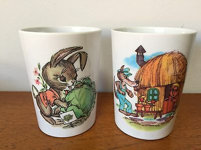 Two Melmac Ornamin Ware Children's Picnic Cups ~ Peter Rabbit Three Little Pigs