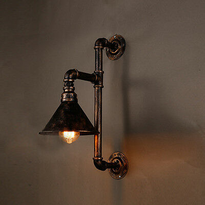 Industrial Vintage Loft Steampunk Pipe Wall Light Lamp Rustic Sconce Bar Fixture