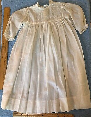Beautiful antique victorian homemade baby child doll DRESS 1900-1907 White Ivory