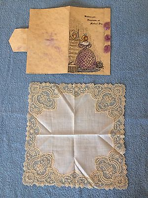 Beautiful antique lace handkerchief White w/ beige lace in Mother's Day card