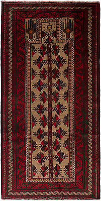 "Hand-knotted Carpet 3'3"" x 6'4"" Royal Baluch Traditional Wool Rug"