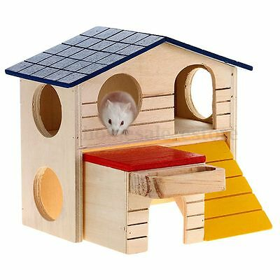 Wooden Bed House Cage Dual Layer Villa For Animal Rat Dwarf Hamster Gerbil Mouse