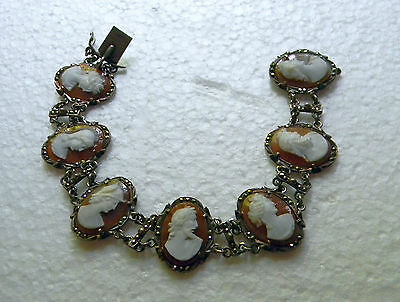 Antique 800 Silver Cameo Bracelet 7 Different Figures Pronged With Marcasite EX