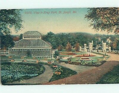 Divided-Back PARK SCENE St. Joseph Missouri MO hk8170