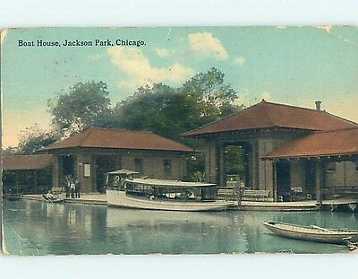 Bent Divided-Back BOAT HOUSE AT JACKSON PARK Chicago Illinois IL hk8246