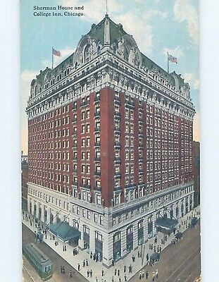 Divided Back SHERMAN HOUSE HOTEL Chicago Illinois IL HQ5101