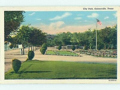 Unused Linen PARK SCENE Gainesville Texas TX hk6387