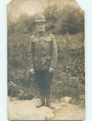 Damaged Pre-1920's rppc Military USA ARMY SOLDIER Embossed Wollaston MA HM3753