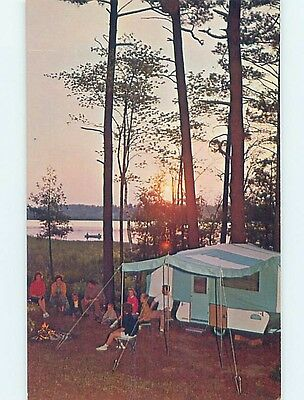 Pre-1980 TENT TRAILER AT CAMPGROUND Wisconsin Lake - Near Green Bay WI hn4245
