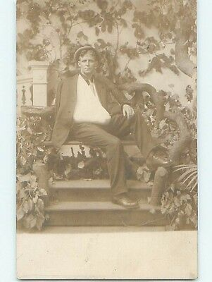 Pre-1920's rppc Abstract MAN POSES WITH ARM IN SLING Portland Oregon OR HM3756