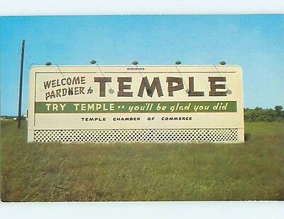 Unused Pre-1980 CHAMBER OF COMMERCE SIGN Temple Texas TX hn0403