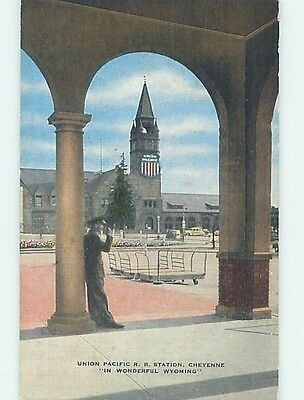 Linen UNION PACIFIC TRAIN STATION Cheyenne Wyoming WY HM9564
