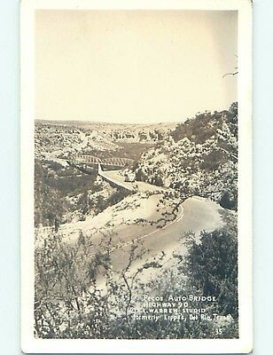Pre-1950 rppc PECOS HIGHWAY 90 AUTO BRIDGE Comstock Texas TX HM3501