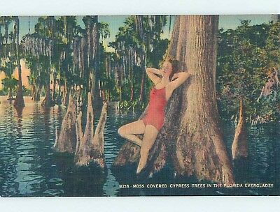 Unused Linen Risque BATHING SUIT GIRL IN EVERGLADES state of Florida HM9021