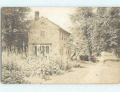 Pre-1930 rppc CLASSIC WOODEN HOUSE BY THE PATH Marked Deerfield MA HM3280