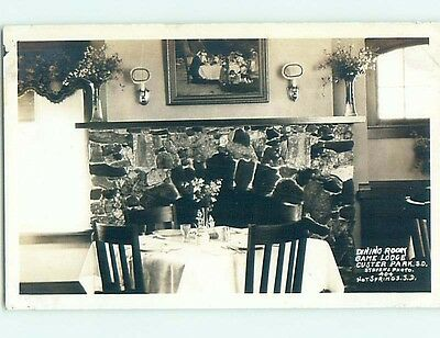 Pre-1949 rppc DINING ROOM AT CUSTER PARK Hot Springs South Dakota SD HM3292
