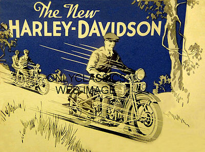 1932 The New Harley Davidson Motorcycle Advertising Poster Vintage Art Graphics