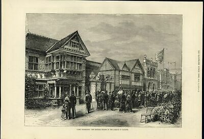 Beautiful English Country Homes Paris Exhibition 1878 antique engraved print