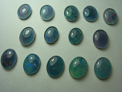 14 nice Australian Opal Triplet cabs Play of Color Blue Green Red Australia oval