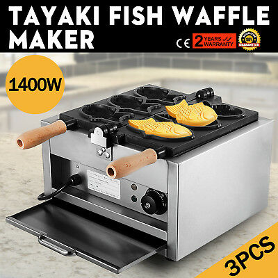 Commerical Taiyaki Fish Waffle Maker Machine Open Mouth Japanese Ice Cream