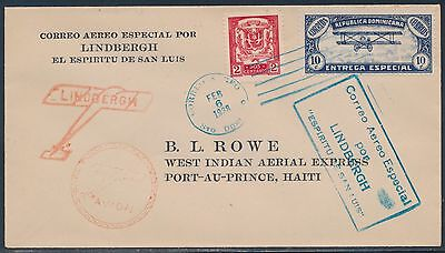 Lindbergh Flight Cover Dominican To Haiti Addressed To B.l. Rowe 2/6/1928 Bt8696