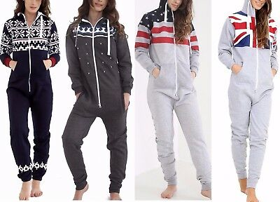 Mens Womens Ladies Aztec & Plain Hooded Unisex All In One Jumpsuit  S-Xl