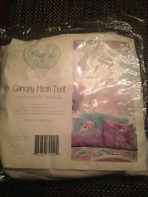 Childrens Room Decor-White  Canopy Mesh Tent white w/ tassel trim for Twin Bed