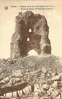 Ieper Ypres Ruines tour église St Martin - Ruins of tower St Martin's Church