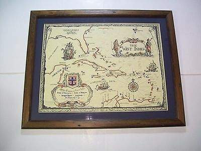 "VINTAGE ROYAL CARIBBEAN CRUISE LINE WEST INDIES FRAMED MAP 21"" x 26"" nautical"