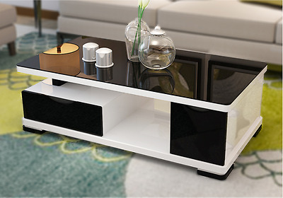 High Gloss Entertainment Unit & Coffee Table (Black, white) Glass surface
