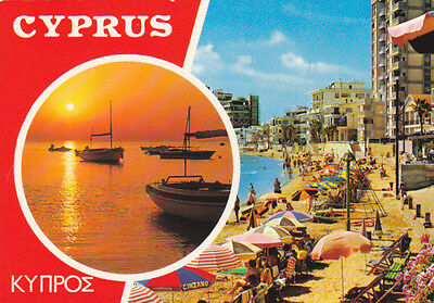 Cyprus Postcard Famagusta Beach Sunset View From King George Hotel C 1970