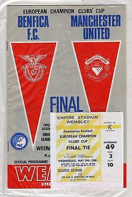 1968 European Cup Final Manchester United v Benfica programme/ticket