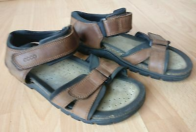Ecco Mens Brown Leather Off Road Summer Strap Open Sandals Shoes Size Uk 8 Eu 42