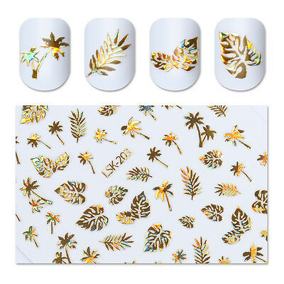 3D Nail Stickers Gold Holographic Tree Leaf Design Nail Art Manicure Decals DIY