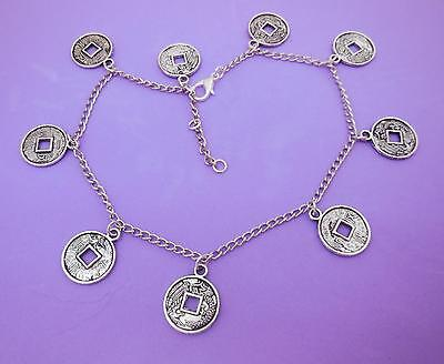 Anklet, Chinese Style Coin Beads, Silvertone Curb Chain Adjustable - 7978