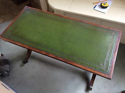 Antique leather top coffee table - Lyre & lion's feet details