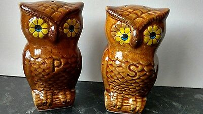 1970s VINTAGE BROWN OWLS WITH DAISY EYES SALT AND PEPPER POTS