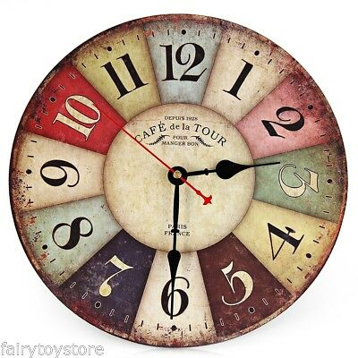 Silent Colorful Wooden Decorative Round Wall Clock Retro Vintage Style Battery