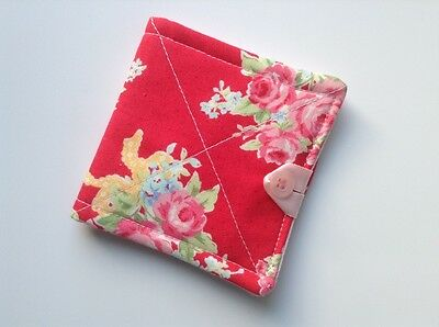 needlecase fabric red/pink floral Felt page inside Gift Present Needles Book