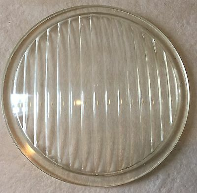 """Vintage Traffic Lens Clear Ribbed Glass 8 3/8"""" Diameter"""