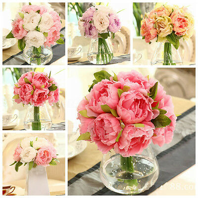 10 Head Silk Artificial Peony Flowers Hydrangea Fake Leaf Wedding Bridal Party