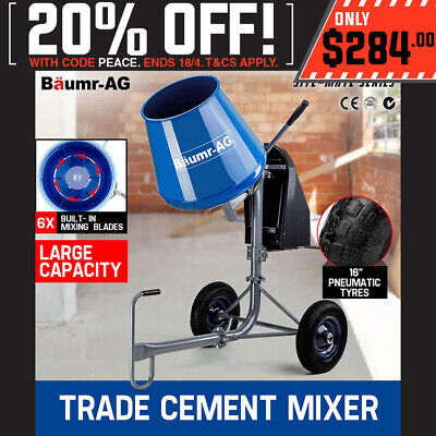Baumr-AG 120L Cement Concrete Mixer Portable Electric Sand Gravel Construction