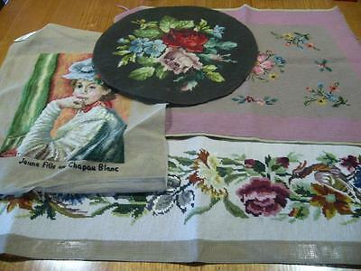 4 x LOVELY COMPLETED WOOL TAPESTRIES - FLORAL & FIGURAL- READY TO USE OR FRAME