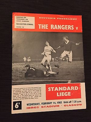 1962 Rangers v Standard Leige European Match Programme Original No Writing