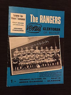 1966 Rangers v Glentoran European Match No Writing