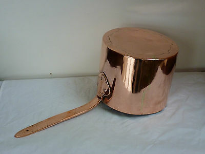 Early 19th century hand wrought copper sauce pan with dovetailed seems