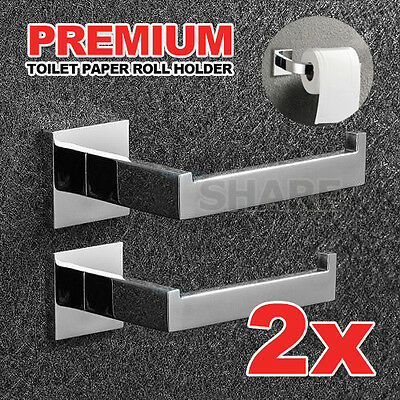 2x Stainless Toilet Paper Roll Holder Bright Steel Square Bathroom Accessories