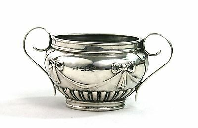 Antique Sterling Silver Salt Cellar Twin Handled Ribbon & Bow Birmingham 1912