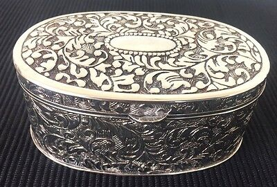 Vintage silver plate jewellery trinket box oval ornate scrolls hinged lid lined